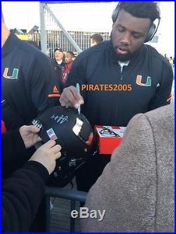 2017 Miami Hurricanes Team Signed Orange Matte Helmet Bcs Playoff Proof Loaded