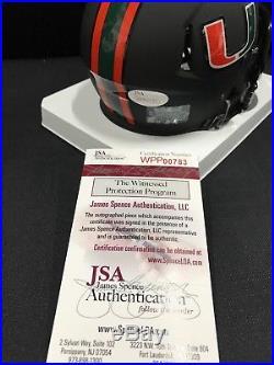Allen Hurns Miami Hurricanes Signed Black Matt Mini Helmet Jsa Witness Coa 00783