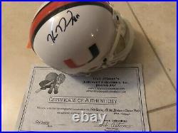 Andre Johnson, Clinton Portis, Ken Dorsey Autograph Miami Hurricanes Mini Helmet
