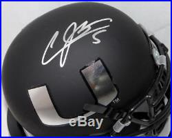 Andre Johnson Signed Miami Hurricanes Black Schutt Mini Helmet JSA W Auth Silve
