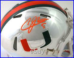 Andre Johnson Signed Miami Hurricanes Chrome Speed Mini Helmet JSA W Auth