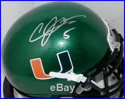 Andre Johnson Signed Miami Hurricanes Green Schutt Mini Helmet JSA W Auth Silve