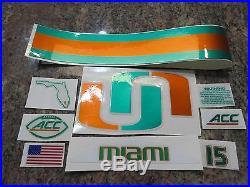 Authentic MIAMI Hurricanes (Chrome) White Football Helmet Full Size Decal Set