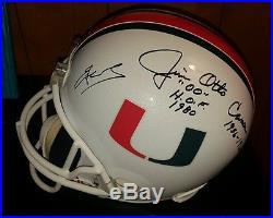 Autographed/Signed Miami Hurricanes FS Helmet Jim Kelly Otto James Kennedy + COA