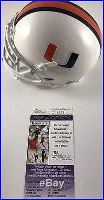 BRAD KAAYA signed Mini Helmet Miami Hurricanes Canes QB JSA Authenticated