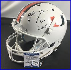 Bradley Brad Kayaa Signd Miami Hurricanes Full Size Football Helmet Bas Coa