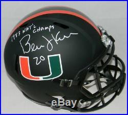 Bernie Kosar Autographed Signed Miami Hurricanes Matte Black Full Size Helmet