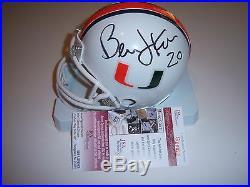 Bernie Kosar Miami Hurricane Jsa/coa Signed Mini Helmet