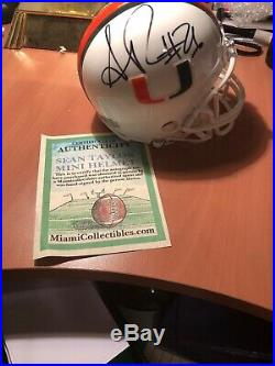 Certified Sean Taylor Autographed Miami Hurricanes Mini Helmet COA