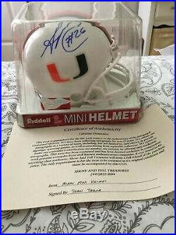 Certified Sean Taylor Autographed Miami Hurricanes Mini Helmet COA by S&T