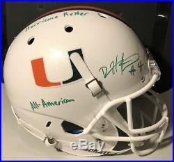 DEVIN HESTER Autographed Miami Hurricane Schutt Full Size Helmet Inscription JSA