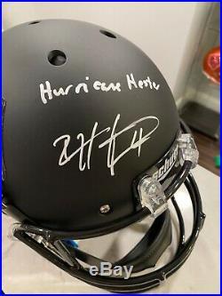 Devin Hester Signed Miami Hurricanes Custom Matte Black Full-Size Helmet Inscrib