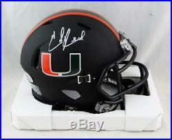 Ed Reed Autographed Miami Hurricanes Black Speed Mini Helmet-Beckett Auth White
