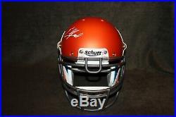 Ed Reed Autographed University Of Miami Full Size Orange Schutt Authentic Helmet