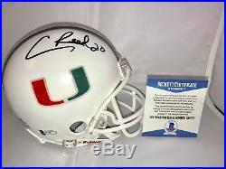 Ed Reed Hand signed Miami Hurricanes Mini Helmet NCAA Ravens Beckett BAS