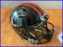 Ed Reed autographed Miami Hurricanes full size replica helmet