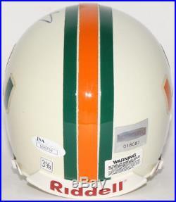 Edgerrin James Signed Miami Hurricanes Mini-Helmet (JSA COA & Mounted Memories)