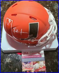 Frank Gore Autographed Amp Miami Hurricanes Mini Helmet JSA