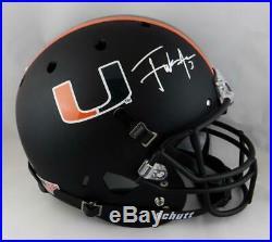 Frank Gore Autographed Miami Hurricanes F/S Black Helmet Beckett Auth Silver