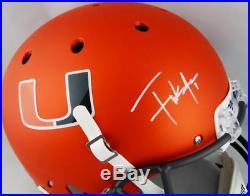 Frank Gore Autographed Miami Hurricanes F/S Orange Helmet Beckett Auth White