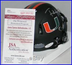 Frank Gore Autographed Signed Miami Hurricanes Black Speed Mini Helmet Jsa