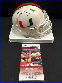 Frank Gore Miami Hurricanes Autographed/signed Mini Helmet Jsa Witness Coa