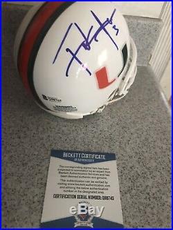 Frank Gore Signed Autograph Auto Mini Helmet Beckett Coa Miami Hurricanes The U