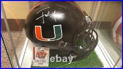 Frank Gore Signed Miami Hurricanes Full Size Eclipse Speed Helmet JSA COA Orange