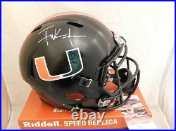 Frank Gore Signed Miami Hurricanes Full Size Eclipse Speed Helmet JSA COA White