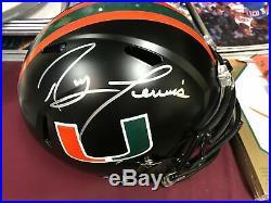 Full Size Replica Miami Hurricanes RAY LEWIS Autograph Chrome Helmet COA Beckett