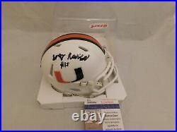 GREG ROUSSEAU Signed / Autographed Miami Hurricanes White Mini Helmet JSA COA