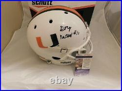 GREG ROUSSEAU Signed Miami Hurricanes White Full Size Schutt Helmet JSA SD COA