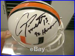 Gino Torretta Miami Hurricanes Signed Mini Helmet Heisman 1992 NFL