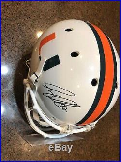 Greg Olsen Miami Hurricanes Autod Replica Helmet with Authenticity (Panthers)