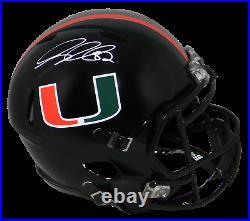 Greg Olsen Signed Miami Hurricanes Black Full Size Speed Helmet Beckett