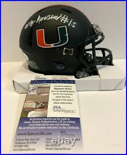 Greg Rousseau Autographed Signed Miami Hurricanes Mini Helmet Jsa Coa