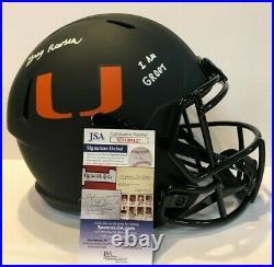 Greg Rousseau Signed Inscr Miami Hurricanes Full Size Eclipse Rep Helmet Jsa Coa