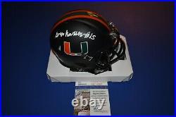 Gregory Greg Rousseau Signed Miami Hurricanes Black Mini Helmet JSA COA SD