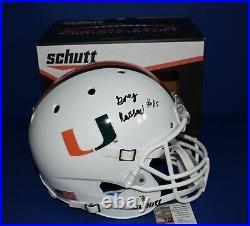 Gregory Greg Rousseau Signed Miami Hurricanes Full Size White Schutt Helmet JSA