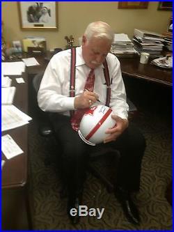 Howard Schnellenberger Signed Miami Hurricanes FS Helmet 83 Natl Champs Proof