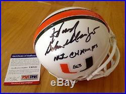 Howard Schnellenberger Signed Miami Hurricanes Mini Helmet 1983 Champs PSA Coa