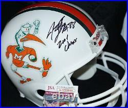 JEREMY SHOCKEY 2001 CHAMPS Signed UM Miami Hurricanes Full Size Helmet JSA COA