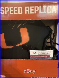 JEREMY SHOCKEY Autographed FULL SIZE Riddell Speed Helmet! MIAMI HURRICANES
