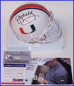 Jim Kelly Bills Autographed Hand Signed Miami Hurricanes Mini Helmet Psa/dna
