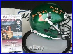 Jarren Williams signed Miami Hurricanes UM Canes green mini helmet JSA COA