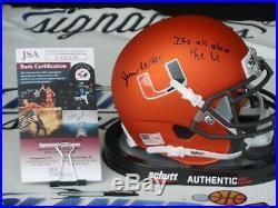 Jarren Williams signed Miami Hurricanes UM Canes orange mini helmet JSA COA