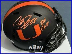 Jeremy Shockey Miami Hurricanes 2001 Champs Jsa Eclipse Signed Mini Helmet