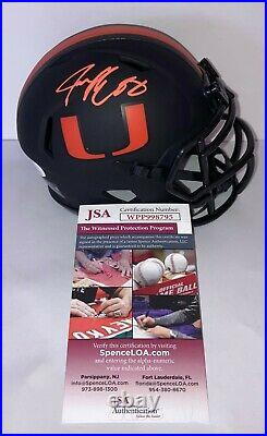 Jeremy Shockey Miami Hurricanes Signed Eclipse Mini Helmet JSA Witness COA N