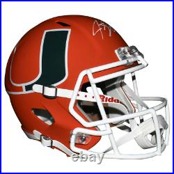 Jeremy Shockey Signed Miami Hurricanes AMP Speed Full-Size Replica Football Helm