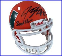 Jeremy Shockey autographed signed inscribed AMP mini helmet Miami Hurricanes JSA